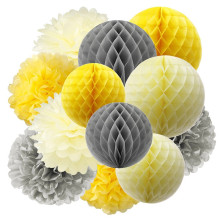 Pack of 12 Tissue Paper Pom Yellow Grey Cream Honeycomb Balls Lanterns Decorations for Baby Shower