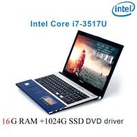 "dvd נהג ושפת 16G RAM 1024G SSD השחור P8-28 i7 3517u 15.6"" מחשב נייד משחקי מקלדת DVD נהג ושפת OS זמינה עבור לבחור (1)"