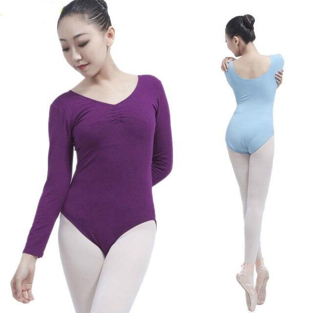 44614879b Women Black Long Sleeve Leotard Sexy Ballet Dancewear Adult Cotton ...