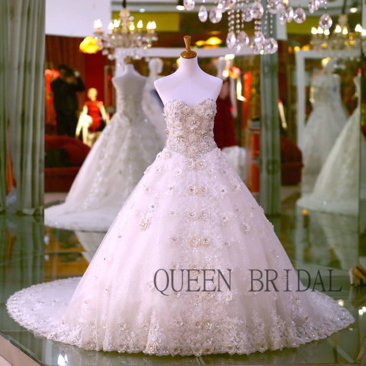 Long train luxury crystals lace heavy fully beaded wedding dress 015 ...