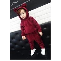 Winter suit boys new children's fashion casual 100% cotton cute hooded sweater pocket rabbit velvet thickening boy suit A8887