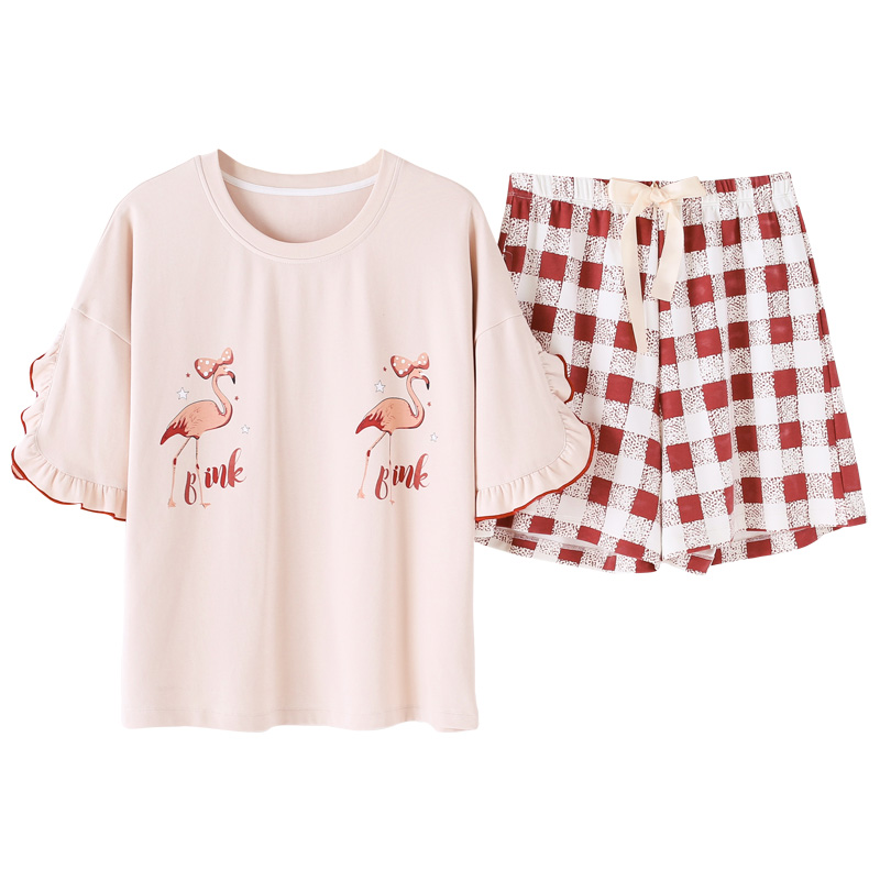 Summer Short Sleeved Knitted Cotton Women's   Pajama     Set   Cute Girls Cartoon Nightgowns Pants   Pajama     Sets   Sleepwear Pyjamas Fashion