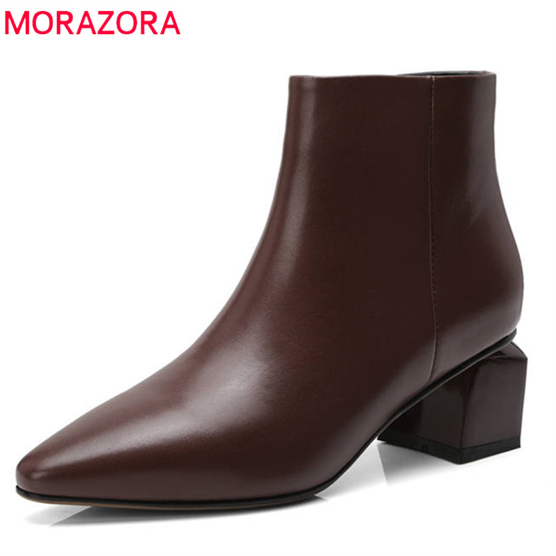 MORAZORA 2020 new fashion genuine leather ankle boots pointed high heels autumn boots women shoes elegant