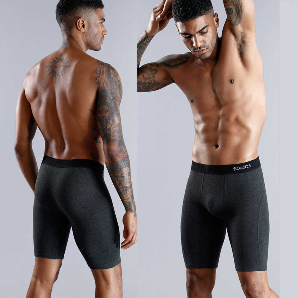 Uzun erkek Boxer iç çamaşırı erkek iç çamaşırı baksır şort erkek pamuk uzun bacak boksörler külot marka kaliteli seksi kılıfı külot