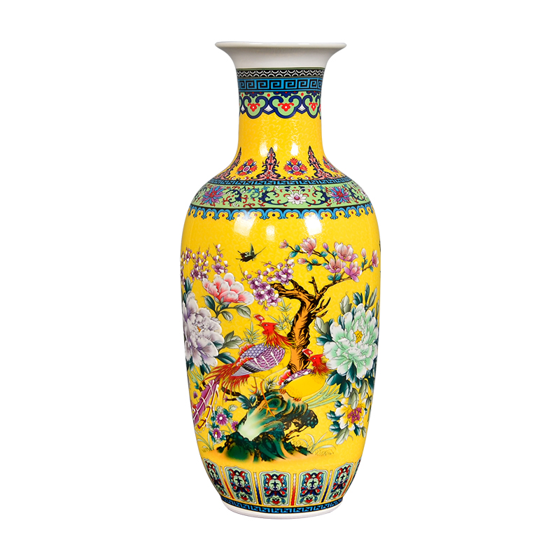 Jingdezhen Antique Enamel Big Floor Vase With Flowers And Birds Pattern Ancient Ming and Qing PorcelainJingdezhen Antique Enamel Big Floor Vase With Flowers And Birds Pattern Ancient Ming and Qing Porcelain