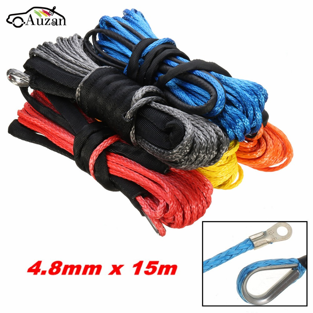 5500LBs Vehicle Synthetic Fiber Winch Rope Cable Towing Ropes Tow Strap Tools 4.8mm x 15m