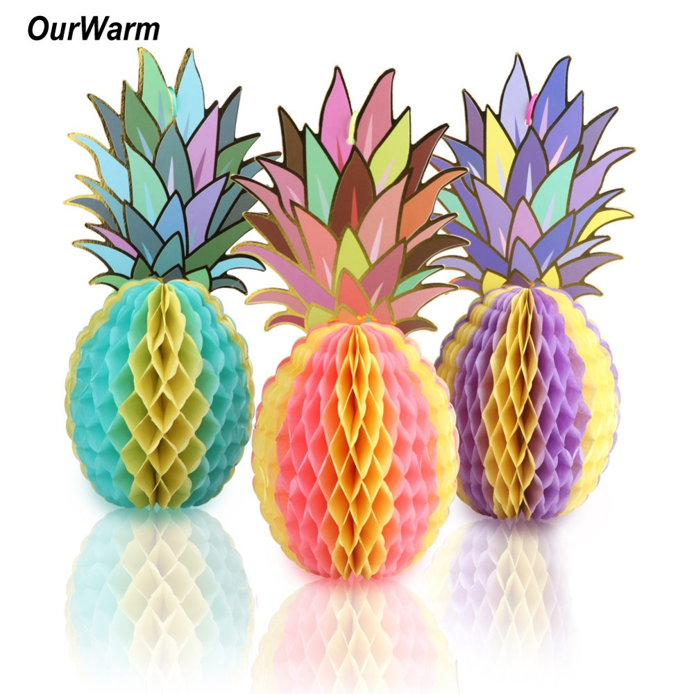 OurWarm Hawaiian Party Decorations 3PCS Paper Hanging Pineapple Decor Beach Pool Luau Party Supplies Wedding Table Centerpiece
