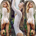 Sexy Full Lace Transparent Ultrathin Jumpsuits Women Long Sleeve Bandage Deep V-neck Bodysuit