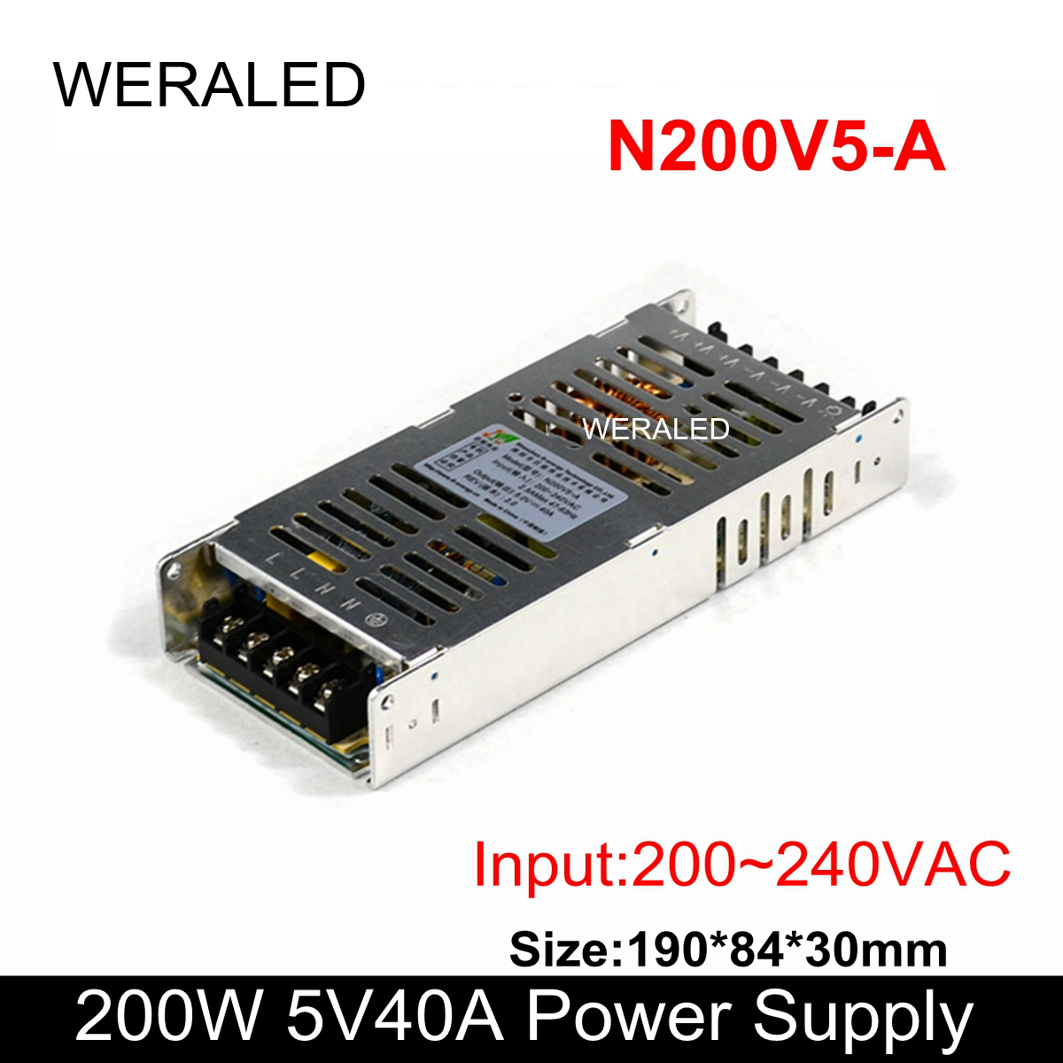 G-energy N200V5-A 200W LED Programmable Sign Display Power Supply,5V40A 200~240VAC Input Voltage PSU For P4 P5 P10 LED Signboard