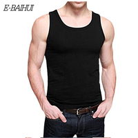 Free Shipping 2014 Newly E BAIHUI Summer Fashion 6 Pure Color Cotton Slim Men Tank Tops