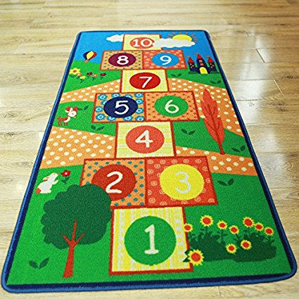 Hopscotch Kids Rug Bedroom Blue Boy Children Carpet Girls Bedroom Playroom Play Mat School Classroom Learning Carpet Kids Rug