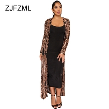 ZJFZML Women Elegant Sequined Jacket Sexy Mesh See Through Long Coat Spring Autumn Full Sleeve Maxi Causal Party Club Top Female