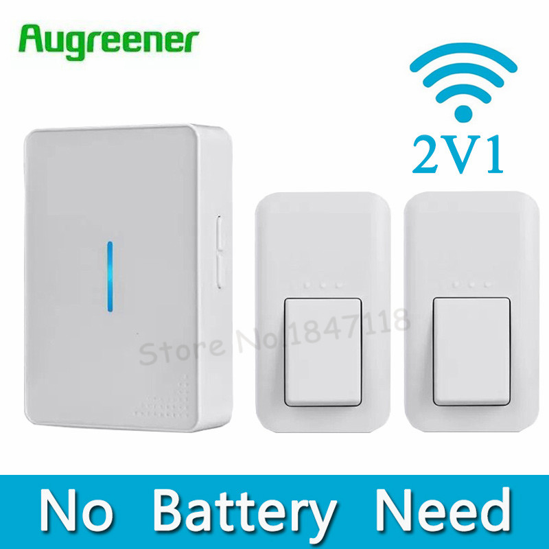New No Battery Need Doorbell EU Plug Wireless Door Bell AC 220V Waterproof Digital Doorbells 2 Push Button+1 Indoor Receiver door bell with 36 chimes single receiver waterproof plug in type wireless doorbell cordless smart door bells doorbells