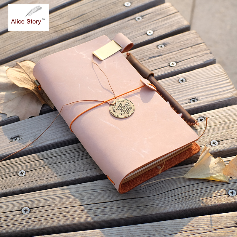 Alice Story New Diary Notebook Handmade Genuine Wax Leather NoteBook Replaceable Stationery Gift Journal Sketchbook Planner genuine leather notebook travelers journal agenda handmade planner notebooks diary caderno sketchbook school supplies