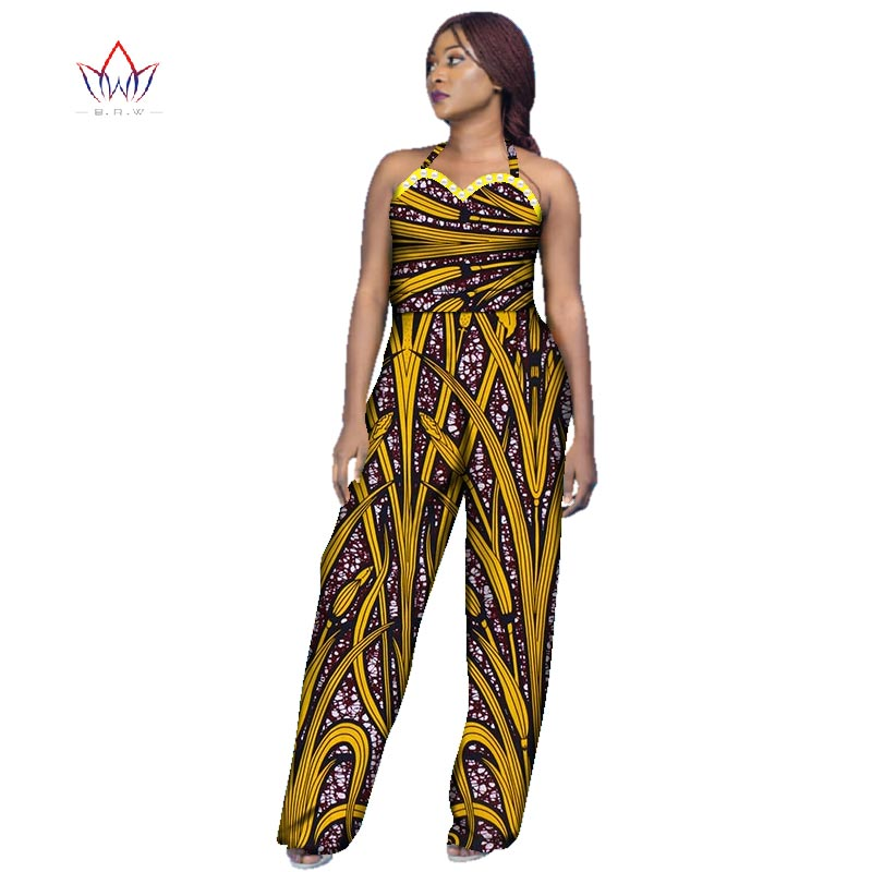 New Arrivar Strapless Jumpsuit Dashiki African Fabric Wax Print Rompers Womens Jumpsuit Traditional African Clothing WY2969 ...