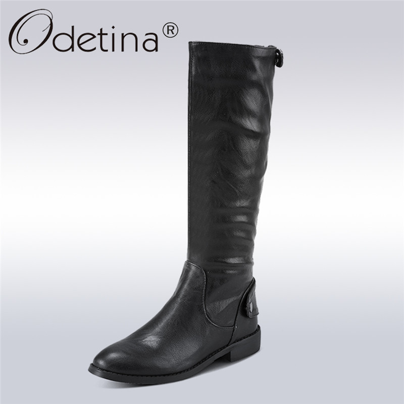 Odetina 2017 New Autumn Winter Wide Half Boots Women Riding Boots Chunky Low Heel Knee High Boots With Back Zipper Big Size 43 alfani new black women s size small s mesh back high low ribbed blouse $59 259