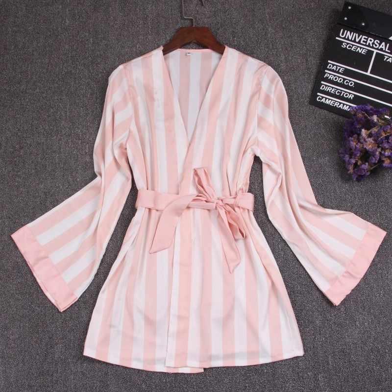 3 шт. шелковые пижамы набор для женщин жилет пальто брюки девочек Синий Полосатый Pijama Mujer пижамы Женская одежда ночная рубашка Pyjama Femme Новый