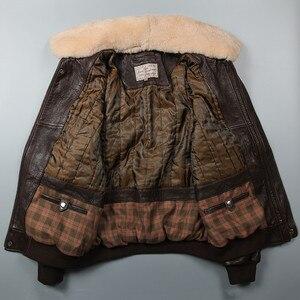 Image 5 - Avirex Chaqueta de vuelo de la Fuerza Aérea para hombre, chaqueta de cuero genuino con cuello de piel, abrigo de piel de Oveja Negra y marrón, chaqueta Bomber de invierno