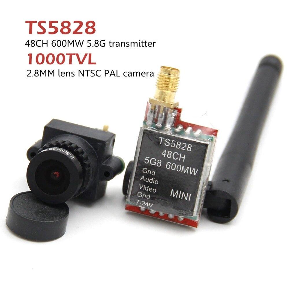 FPV Mini Câmera de Vídeo Digital Linha 1000TVL 1000 TVL 2.8 milímetros lens e Micro 5.8G 600 mW 48CH TS5828 transmissor Para RC qulticopter