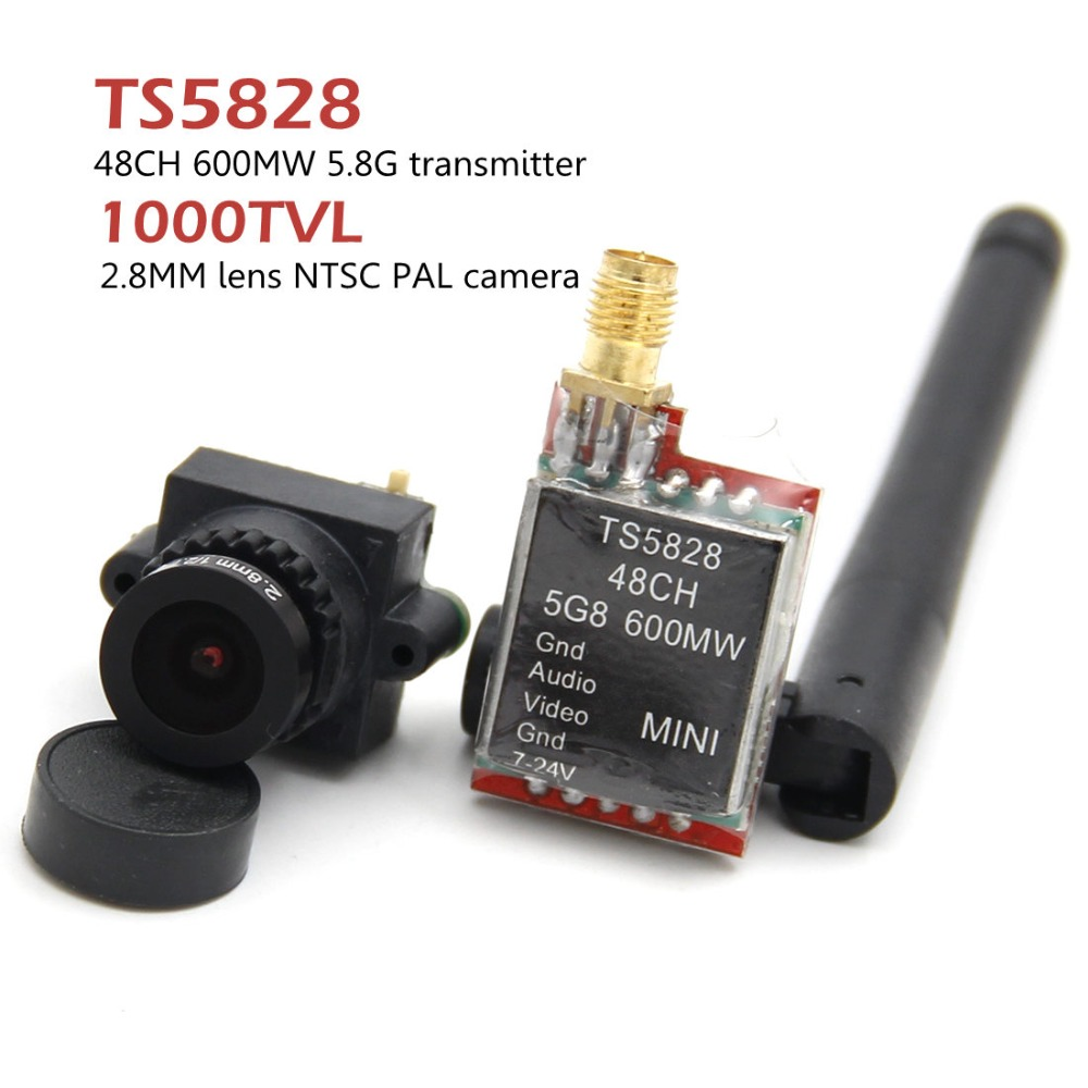 FPV Mini Digital Video Camera 1000TVL 1000 TVL Line 2.8mm lens and TS5828 Micro 5.8G 600mW 48CH Transmitter For RC qulticopterFPV Mini Digital Video Camera 1000TVL 1000 TVL Line 2.8mm lens and TS5828 Micro 5.8G 600mW 48CH Transmitter For RC qulticopter