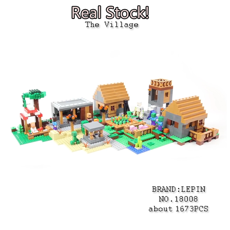 LEPIN 18008 Minecrafted series The Classic Village model anime action figures Building Blocks compatible 21128 toys for children in stock lepin 16024 534pcs genuine idea series the big bang set action figures building blocks brick fun toys for children gift