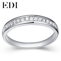 EDI 0.21cttw Natural Diamond Wedding Band For Women 9K Solid White Gold Wedding Stack Ring Diamond Jewelry