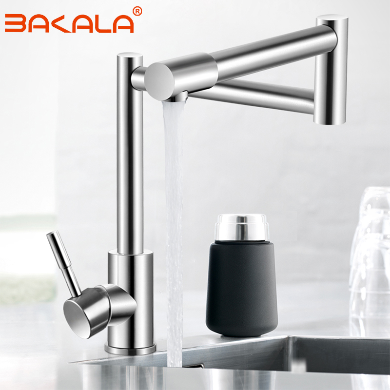 BAKALA 304 Stainless Steel Lead-free Folding Kitchen Faucet Mixer 360 Degree Swivel Single Handle Nickel Kitchen Sink Basin Taps