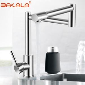 Image 1 - BAKALA 304 Stainless Steel Lead free Folding Kitchen Faucet Mixer 360 Degree Swivel Single Handle Nickel Kitchen Sink basin Taps