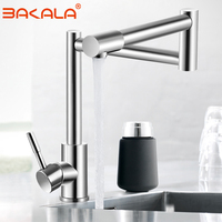 BAKALA 304 Stainless Steel Lead free Folding Kitchen Faucet Mixer 360 Degree Swivel Single Handle Nickel Kitchen Sink basin Taps