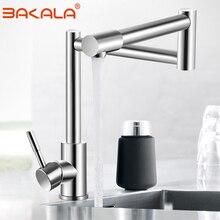 BAKALA mitigeur de robinet de cuisine pliable en Nickel, en acier inoxydable 304, mitigeur pour évier de cuisine en Nickel pivotant à 360 degrés à une poignée