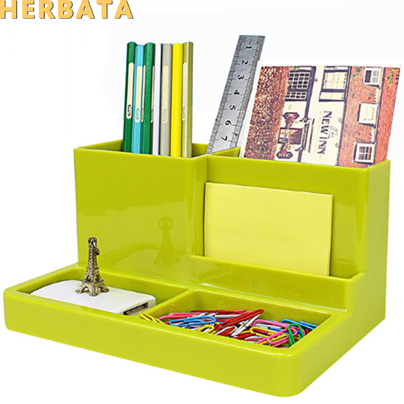 Pen Holder Desk New Fashion Multi-function Korean Desk Storage Box Office Supplies Stationery Pen Box Pens Holder Set CL-2547