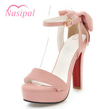Nasipal Thick High Heel Elegant Wedding Shoes Fashion Bow Tie Ankle Strap  Gladoator Shoes Woman Open Toe Platform Sandals C504 f6063656deeb