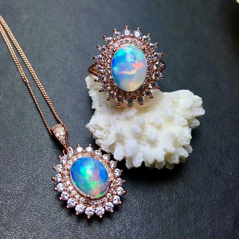 Shilovem 100% стерлингового серебра 925 натуральный опаловые подвески Цепочки и ожерелья кольца Классический ювелирные украшения подарок завод о