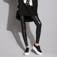 2017 New Winter Women S Fashion Slim PU Leather Fleece Legging Pants Female Plus Velvet Leggings
