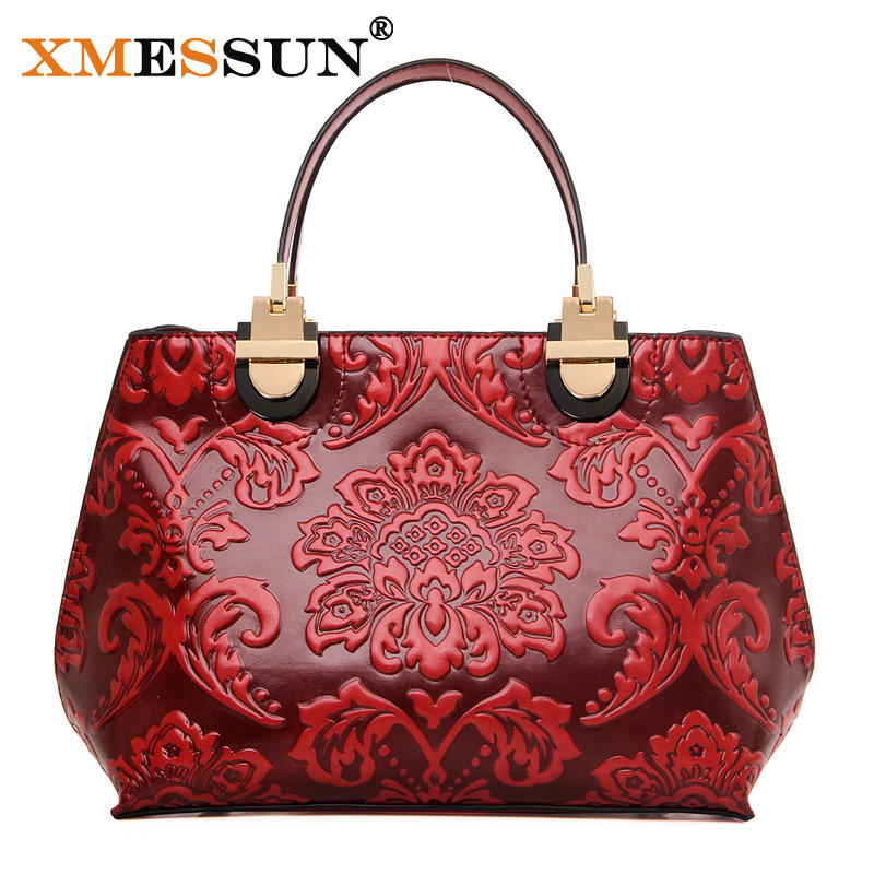 ef4ce388275 XMESSUN Brand Chinese Style Women Leather Hand Bag Embossed Flower Printing Shoulder  Bag High Quality Design Messenger Bags L38-in Top-Handle Bags from ...