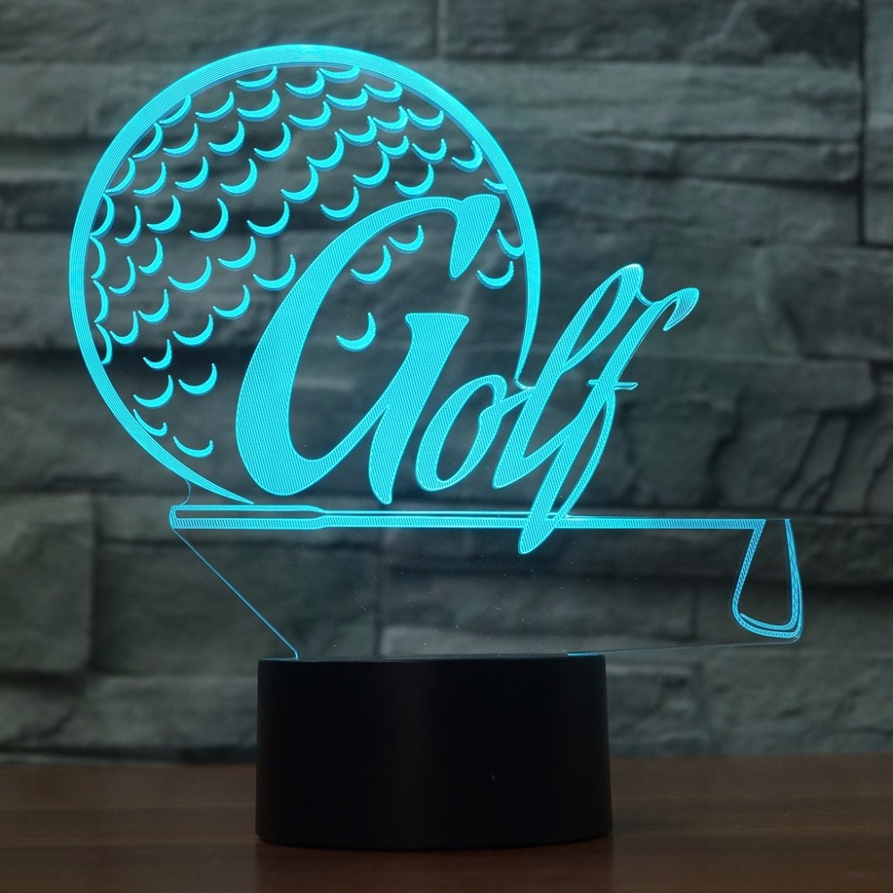 Creative Golf Modelling 3D Table Lamp LED USB 7 Colors Changing Night Light Golf Enthusiast Gifts Light Fixture Bedroom Decor