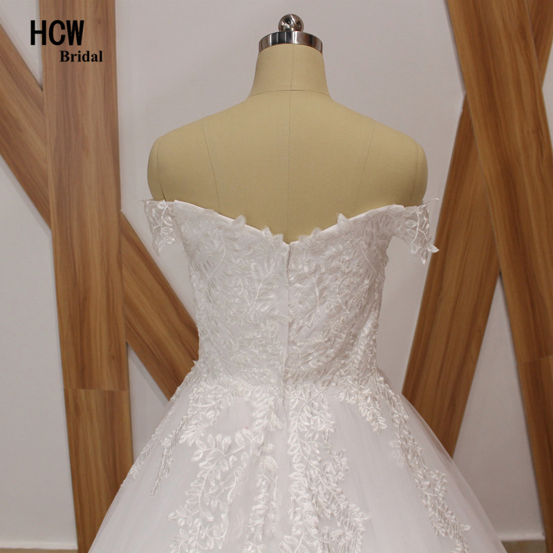 Sierlijke Tull Lace trouwjurk boothals off the shoulder prinses - Trouwjurken - Foto 6