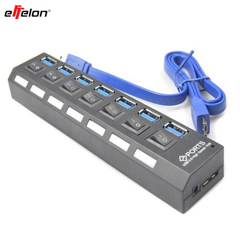 effelon USB 3.0 Super Speed 5Gbps 7 Ports USB 3.0 Charger Splitter With On/Off Switch Platooninsert For Computer/Mobile Phone