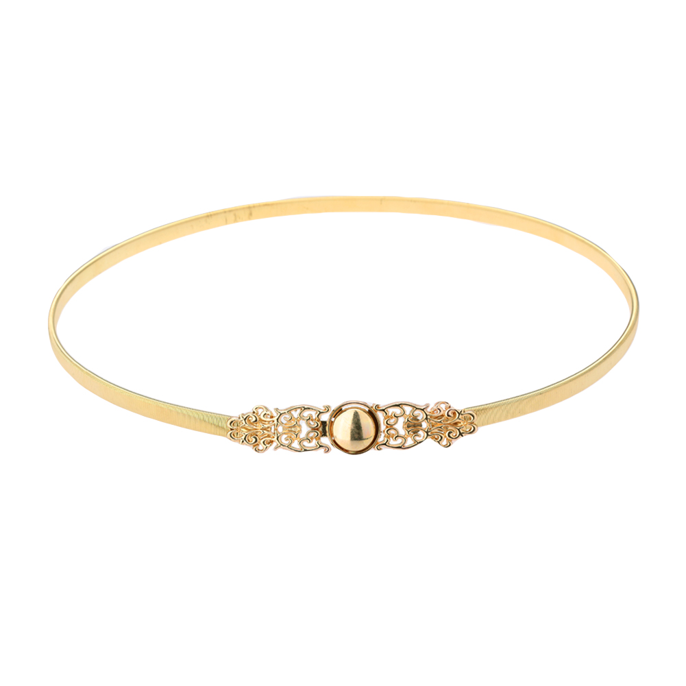 New Fashion Women Waist Belt Chain Metal Gold Tone Hollow Out Stretchy Belt For Dresses Blouses Slim Elegant Belt Band Golden