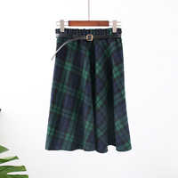 New Plaid Skirt Women Long A Line Skirt British Style Woolen Plaid Skirts Kilt Winter Vintage Wool Tartan Umbrella Plaid Skirts