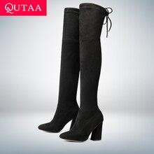43de0bf2d QUTAA 2020 جديد جلد الغنم النساء فوق الركبة الأحذية الدانتيل يصل مثير عالية  الكعب الخريف امرأة أحذية الشتاء النساء الأحذية حجم 3.