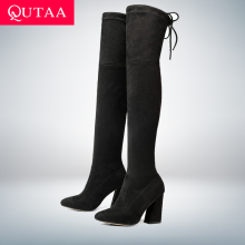 QUTAA Shoes Winter Lace-Up Women Boots High-Heels Size-34-43 Flock Over-The-Knee Woman