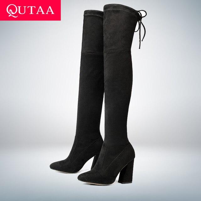 QUTAA 2020 Neue Herde Leder Frauen Über Das Knie Stiefel Lace Up Sexy High Heels Herbst Frau Schuhe Winter Frauen stiefel Größe 34-43