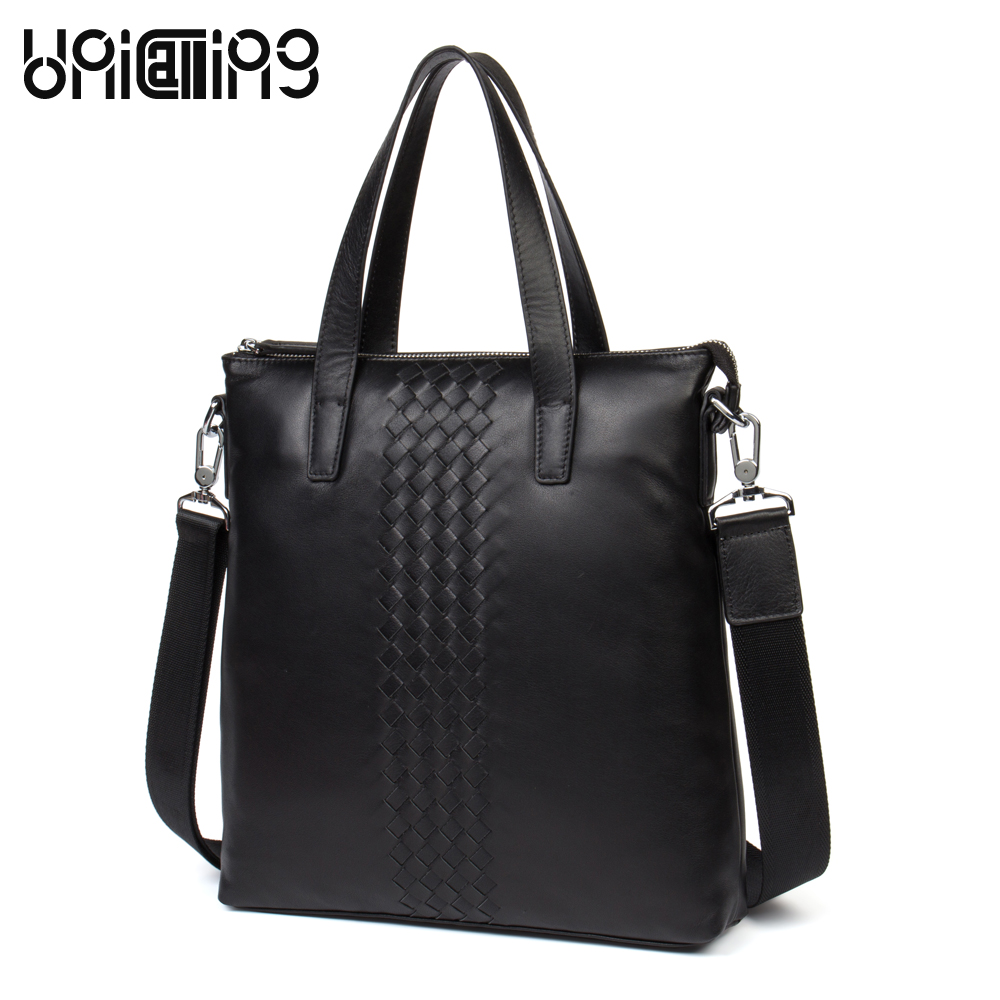 UniCalling messenger bag genuine leather male cow leather fashion knitting genuine leather men bag business elite handbag genuine leather
