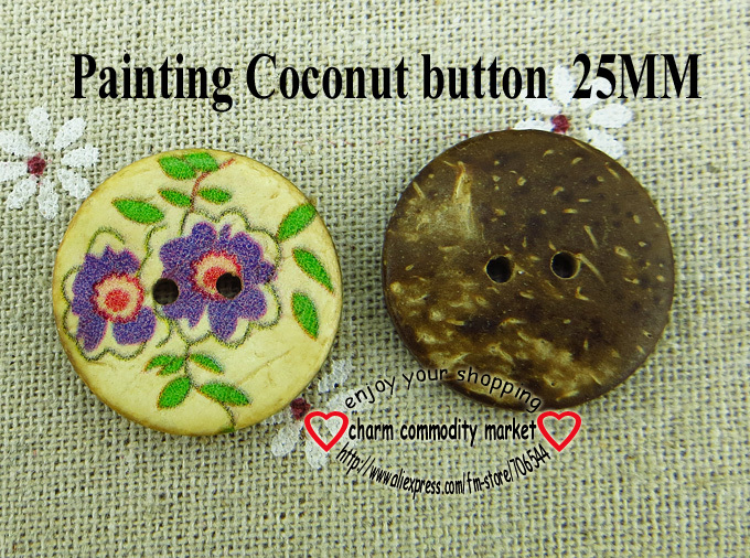 100PCS 25MM purple flower painting coconut buttonS for sewing boots coat sweater clothes findings crafts CCB-57