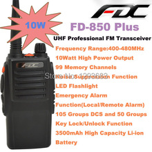2014 New FDC FD-850 Plus 10W walkie talkie UHF 400-470MHz Professional Transceiver walkie talkie 10km  waterproof two way radio