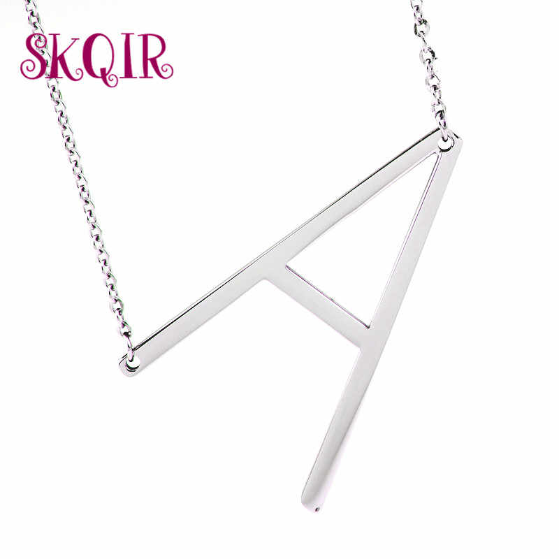 Fashion big Letter Necklaces Pendants women jewelry stainless steel chain suspension alphabet Alfabet choker collier femme
