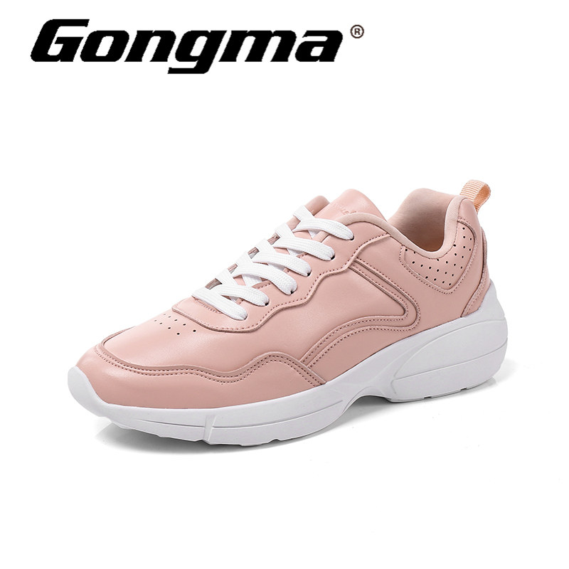 Gongma New Brand Pink Sneakers Women Running Shoes leather Uppers Sport Shoes For Girl Lightweight Female Athletic Jogging Shoe
