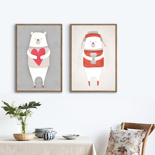 Haochu Cartoon Lovely Polar Bear Animal Wall Poster Canvas Painting For Baby Nursery Room Kindergarten Modern