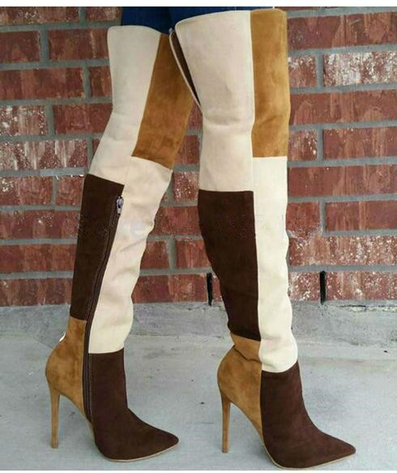 Winter Hot Sale Women Fashion Pointed Toe Patchwork Color Over Knee Boots Suede Leather Square Cloth